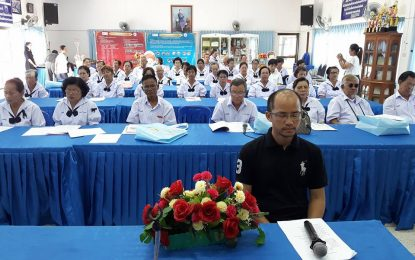คณาจารย์หลักสูตรพุทธศาสนศึกษา บริการวิชาการ อบรมให้ความรู้ในโครงการพัฒนาคุณภาพชีวิตผู้สูงอายุตำบลสุรนารี (โรงเรียนสร้างสุข)  ณ เทศบาลตำบลสุรนารี อ.เมือง จ.นครราชสีมา