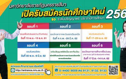 ปฏิทินรับสมัครนักศึกษาใหม่ประจำปีการศึกษา 2562 มหาวิทยาลัยราชภัฏนครราชสีมา
