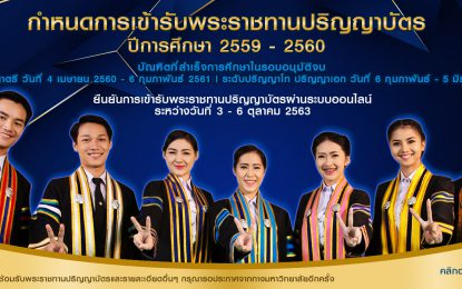 กำหนดการ งานพิธีพระราชทานปริญญาบัตร มหาวิทยาลัยราชภัฏกลุ่มภาคตะวันออกเฉียงเหนือ ประจำปีการศึกษา 2559-2560 ระหว่างวันที่ 15 – 20 ตุลาคม 2563 ณ หอประชุมมหาวชิราลงกรณ มหาวิทยาลัยราชภัฏสกลนคร